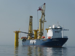 Instalaltion of transition piece in Offshore Wind Farm Butendiek